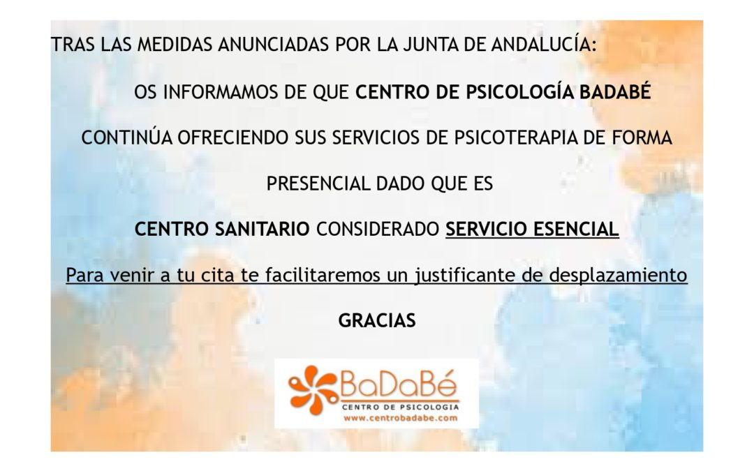 CENTRO DE PSICOLOGÍA BADABÉ: INFORMACIÓN COVID-19